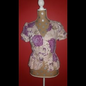 Elevenses Floral Cap Sleeve Peplum Blazer